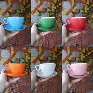 porculanske šalice rendes rainbow plava, zelena, crvena, narančasta, bijela i roza boja